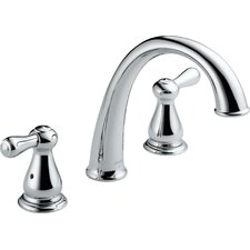 <strong>Delta</strong> Leland Double Handle Deck Mount J Spout Roman Tub Faucet