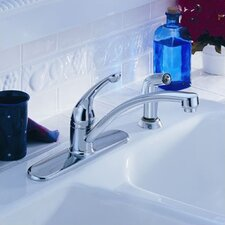 Signature Deck Mount Single Handle Centerset Kitchen Faucet with Side Spray