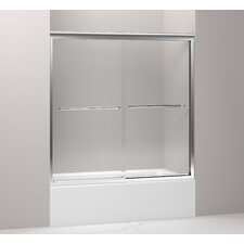 "Fluence 59.63"" W x 58.31"" H Sliding Bath Door with Crystal Clear Glass"