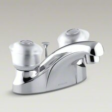 <strong>Kohler</strong> Coralais Centerset Lavatory Faucet with Sculptured Acrylic Handles, Pop-Up Drain and Lift Rod