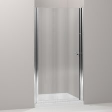 "Fluence Pivot Shower Door, 65-1/2"" H X 35 - 36-1/2"" W, with 1/4"" Thick Falling Lines Glass"