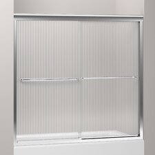 "Fluence Sliding Bath Door, 55-3/4"" H X 54 - 57"" W, with 1/4"" Thick Falling Lines Glass"