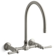 Hirise Stainless Wall Mount Bridge Kitchen Faucet