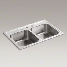 "Toccata 33"" X 22"" X 8-3/16"" Top-Mount Double-Equal Bowl Kitchen Sink with 3 Faucet Holes"