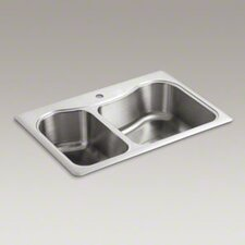 "<strong>Kohler</strong> Staccato 33"" X 22"" X 8-5/16"" Top-Mount Large/Medium Double-Bowl Kitchen Sink with Single Faucet Hole"