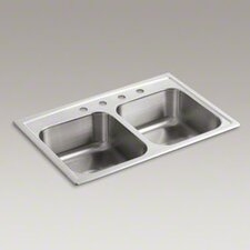 "Toccata 33"" X 22"" X 8-3/16"" Top-Mount Double-Equal Bowl Kitchen Sink with 4 Faucet Holes"