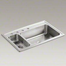 "Toccata 33"" X 22"" X 7-11/16"" Top-Mount High/Low Double-Bowl Kitchen Sink with Disposal Bowl and 4 Faucet Holes on The Left"