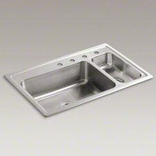 "Toccata 33"" X 22"" X 7-11/16"" Top-Mount High/Low Double-Bowl Kitchen Sink with Disposal Bowl and 4 Faucet Holes on The Right"