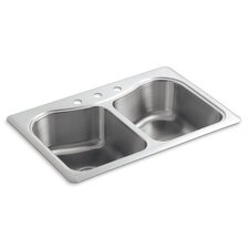 "Staccato 33"" X 22"" X 8-5/16"" Top-Mount Double-Equal Bowl Kitchen Sink with 3 Faucet Holes"