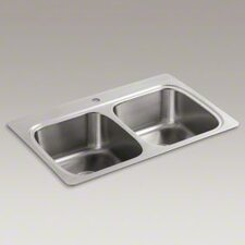 "<strong>Kohler</strong> Verse 33"" X 22"" X 8-1/4"" Top-Mount Double-Equal Bowl Kitchen Sink with Single Faucet Hole"