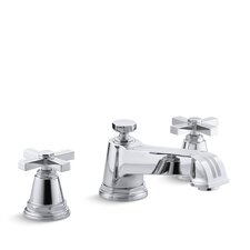 Pinstripe Deck-Mount High-Flow Bath Faucet Trim with Cross Handles, Valve Not Included