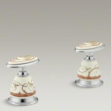 <strong>Kohler</strong> Antique Briar Rose Ceramic Handle Insets for Bath Faucets