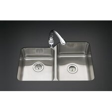 "Undertone 32"" x 21"" Double Basin Under-Mount 18-Gauge Left Side Kitchen Sink with SilentShield"