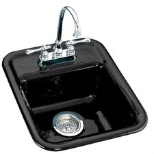 "Aperitif 16"" x 19"" Self Rimming Entertainment Kitchen Sink with 3 Holes Faucet Drilling for 8"" Center Faucets"