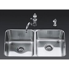 "<strong>Kohler</strong> Undertone 31.5"" x 18"" Under-Mount Double-Equal Bowl Kitchen Sink"