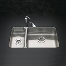 "<strong>Kohler</strong> Undertone 31.5"" x 18"" Under-Mount High/Low Double-Bowl Kitchen Sink"