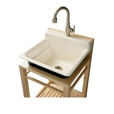 Bayview Wood Stand Utility Sink with Single-Hole Faucet Drilling On Top Of Backsplash