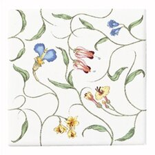 English Trellis Decorative Field Tile, Light Floral Pattern