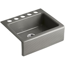 "Evenweave Design On Alcott 25"" x 22"" Under-Mount Kitchen Sink with 5 Faucet Holes"
