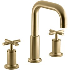 Purist Deck-Mount High-Flow Bath Faucet Trim with Cross Handles, Valve Not Included
