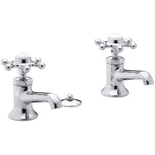 Antique Pillar Tap Single-Hole Bathroom Faucets with Six-Prong Handles