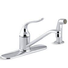 """Coralais Single-Control Kitchen Faucet with 8-1/2"""" Swing Spout, Sidespray and Ground Joints"""