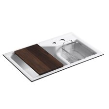 "Indio 33"" x 21.13"" Under-Mount Smart Divide Large/Small Double-Bowl Kitchen Sink with 2 Faucet Holes"