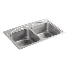 """Cadence 33"""" x 22"""" Top-Mount Double-Equal Kitchen Sink with 4 Faucet Holes"""