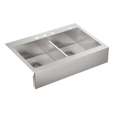 "Vault 36"" Double Basin Top-Mount 18-Gauge 4 Hole Kitchen Sink with Self Trimming"
