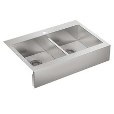 "Vault 36"" Double Basin Top-Mount 18-Gauge Single Hole Kitchen Sink with Self Trimming"