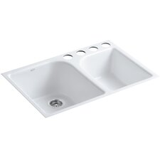 "Executive Chef 33"" X 22"" X 10-5/8"" Under-Mount Large/Medium, High/Low Double-Bowl Kitchen Sink with 4 Oversize Faucet Holes"