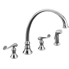 "Revival Kitchen Faucet with 11-13/16"" Spout, Sidespray and Scroll Lever Handles"