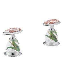 Antique Fables & Flowers Ceramic Handle Insets for Bath Faucets