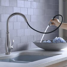 "Cruette Single-Hole or Three-Hole Kitchen Sink Faucet with Pull-Down 16-3/4"" Spout and Lever Handle, Docknetik Magnetic Docking System, and A 3-Function Sprayhead Featuring The New Sweep Spray"