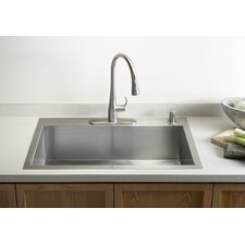 "Vault 33"" X 22"" X 9-5/16"" Top-Mount/Under-Mount Large Single-Bowl Kitchen Sink with Single Faucet Hole"