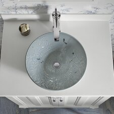 Gilded Meadow Design On Conical Bell Vessels Above-Counter Bathroom Sink