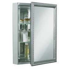 "Single Door 20""W X 26""H X 5-1/4""D Aluminum Cabinet with Decorative Silver Framed Mirrored Door"