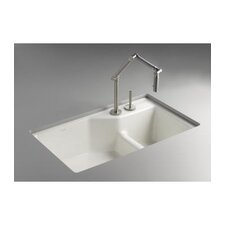 "Indio 33"" X 21-1/8"" X 9-3/4"" Under-Mount Smart Divide Large/Small Double-Bowl Kitchen Sink with 2 Faucet Holes for Karbon Articulating Faucet"