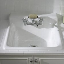 Bayview Self-Rimming Utility Sink with Two-Hole Faucet Drilling In Backsplash