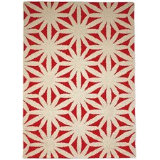 Hand Tufted Flower Red Rug