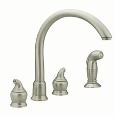 Monticello Two Handle Widespread Bar Kitchen Faucet with Protege Side Spray