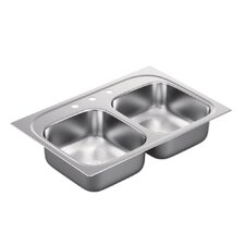"""1800 Series 33"""" x 22"""" Double Bowl Drop in Kitchen Sink"""