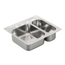 """2000 Series 25"""" x 22"""" Double Bowl Drop in Kitchen Sink"""