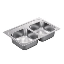 """2000 Series 33"""" x 22"""" Double Bowl Drop in Kitchen Sink"""