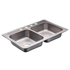 "Commercial 33"" x 22"" 20 Gauge Double Bowl Kitchen Sink"