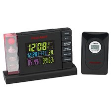 Radio Controlled Weather Station Alarm Clock with Wireless Sensor
