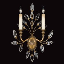 Crystal Laurel Gold Two Light Wall Sconce