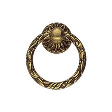 "Louis VI 1.68"" Brass Ring Pull in French Antique Gold"