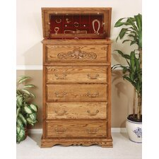 Country Heirloom 5 Drawer Safe Top Chest