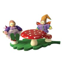 Mushroom Table and Stools Toy Furniture